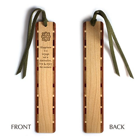Happiness Quote - Voyage - Destination Engraved Wooden Bookmark with Tassel