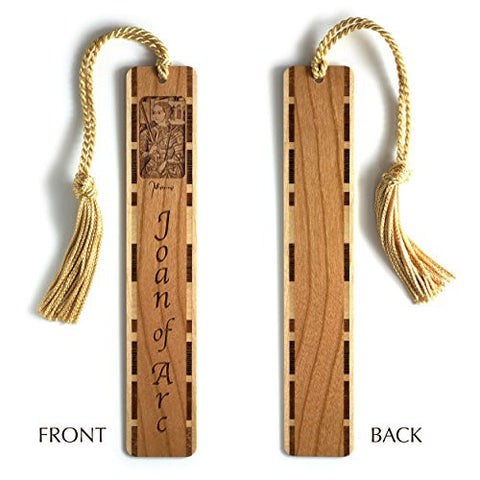 Joan of Arc Engraved Wooden Bookmark with Gold Rope Tassel