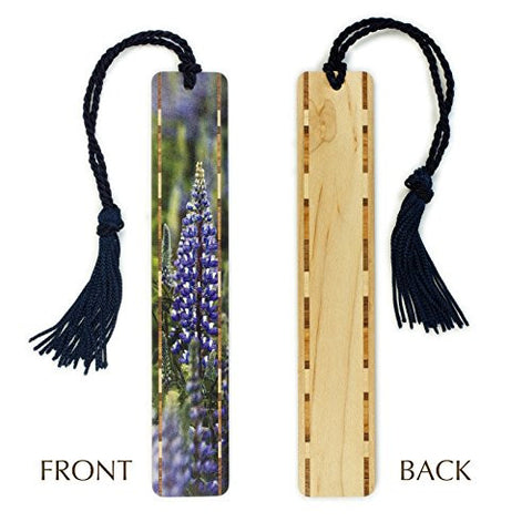Blue Lupine Wild Flowers - Northern Idaho - Photograph Color Wooden Bookmark with Tassel