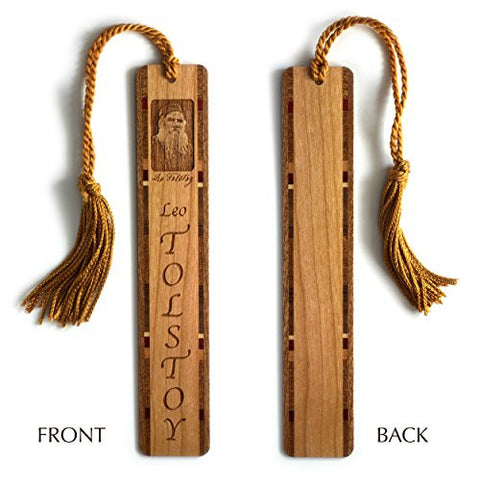 Leo Tolstoy Engraved Wooden Bookmark with Copper Rope Tassel