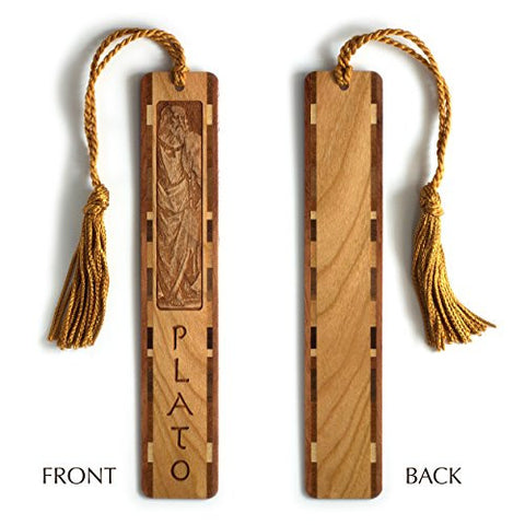 Plato - Greek Philosopher Engraved Wooden Bookmark with Copper Rope Tassel
