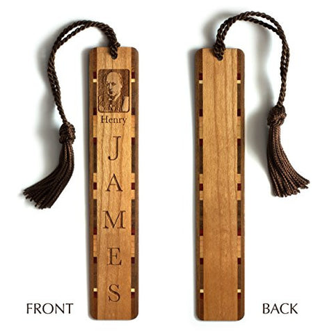 Henry James Engraved Wooden Bookmark with Brown Rope Tassel