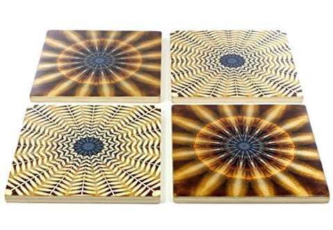 Set of 4 Colorful Wooden Coasters - adapted from a photograph of seashells
