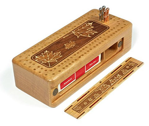 Maple Leaves Engraved Wooden Cribbage Board with quality metal pegs and deck of cards