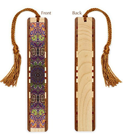 Paisley Design on Maple Wooden Bookmark with Tassel
