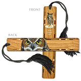 Great Horned Owl - 2 Sided Wooden Bookmark with Tassel