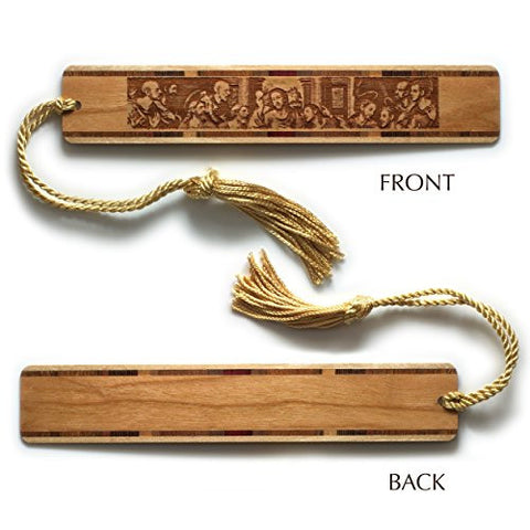 The Last Supper Engraved Wooden Bookmark with Gold Rope Tassel