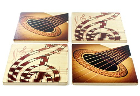 Set of 4 Wooden Coasters - Guitar and Red Notes