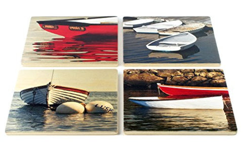 Dingy Coasters - From Original Painted Photography By Martha Everson - Set of 4 Wooden Coasters