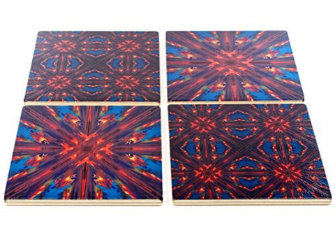 Set of 4 Colorful Wooden Coasters - Adapted from a photograph of a tropical island sunset