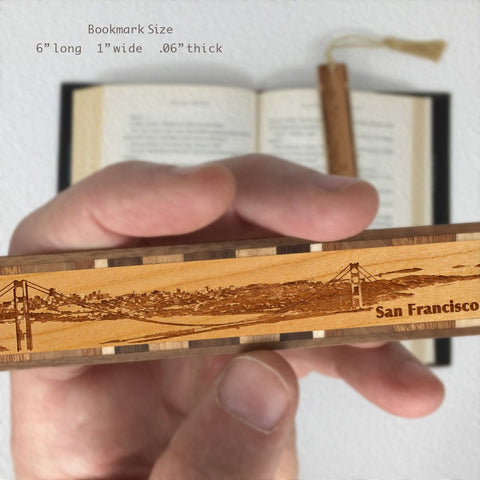 San Francisco California Skyline Engraved Wooden Bookmark with Tassel