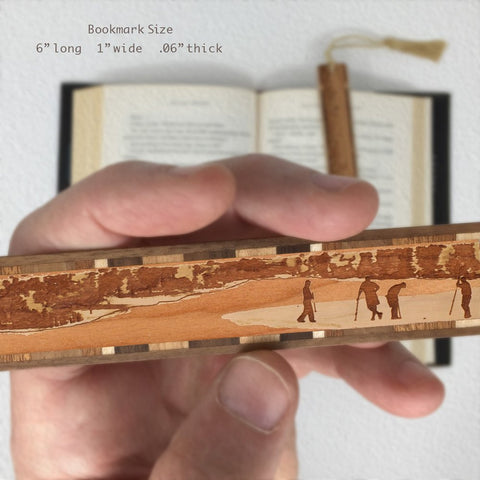 Golfers Playing Golf Engraved Wooden Bookmark with Green Suede Tassel