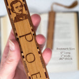 Author - Edgar Allan Poe - Engraved Wooden Bookmark on Cherry with Tassel