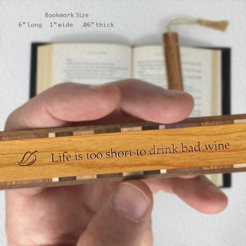 Funny Wine Quote with Leaf Engraved Wooden Bookmark with Tassel