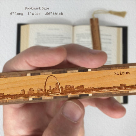 St. Louis Missouri Cityscape Engraved Wooden Bookmark with Tassel