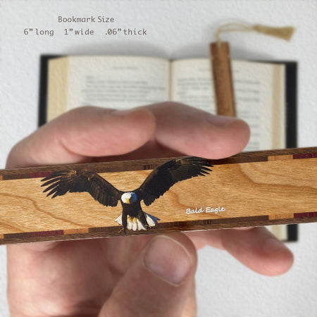Bald Eagle Wooden Hand Made Bookmark with Tassel