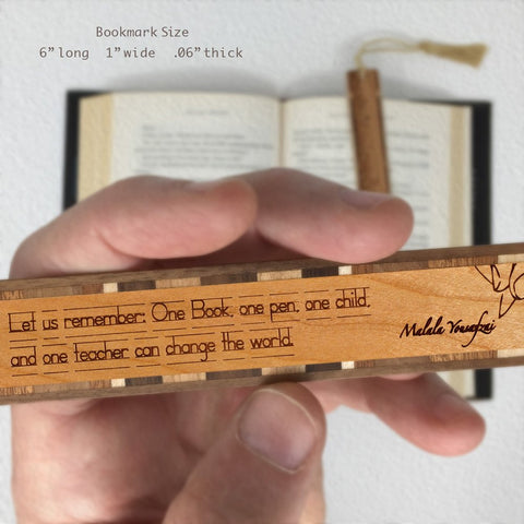Malala Yousafzai Quote - Engraved Wooden Bookmark with Tassel