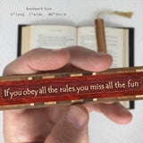 Humorous Rules Quote Engraved Wooden Bookmark with Tassel
