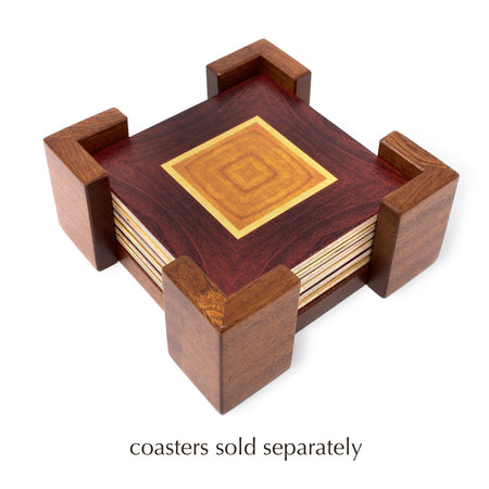 Coaster Holder Without Coasters - Holds Six 4 Inch Square Coasters