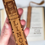 Abraham Lincoln Engraved Wooden Bookmark with Brown Rope Tassel