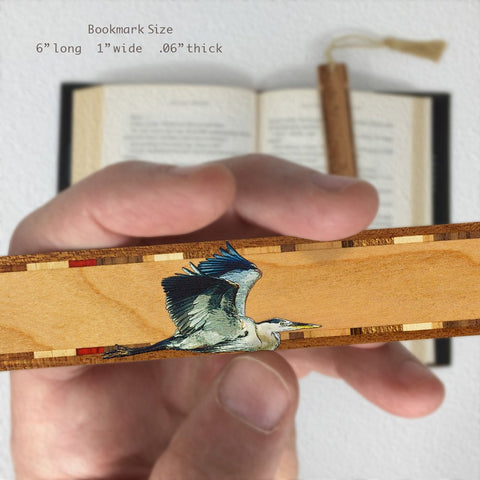 Great Blue Heron - Wooden Bookmark with Tassel