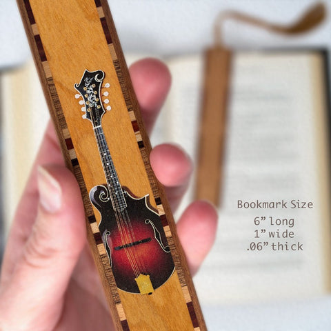 Musical Instrument - Mandolin in Color Wooden Bookmark with Tassel
