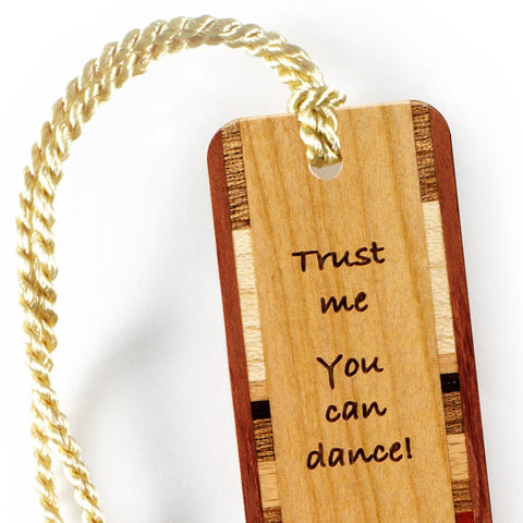 Humorous Wine Quote Engraved Wooden Bookmark with Gold Tassel