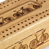 Bicycles Engraved Wooden Cribbage Board with quality metal pegs and deck of cards