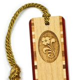 Flower Engraved Wooden Bookmark with Tassel