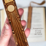 Sun Rays Engraved Wooden Bookmark with Tassel