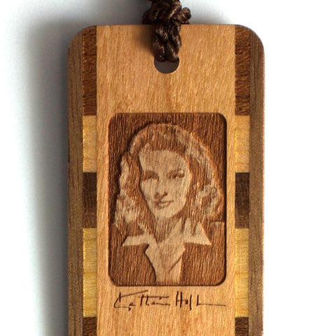 Katharine Hepburn Engraved Wooden Bookmark with Brown Rope Tassel