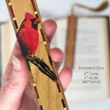 Cardinal - Wooden Bookmark with Black Rope Tassel