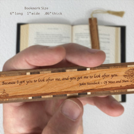 John Steinbeck Quote from Of Mice and Men With Prairie - Engraved Wooden Bookmark with Tassel