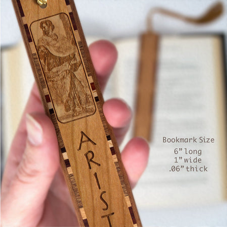 Aristotle - Greek Philosopher Engraved Wooden Bookmark with Gold Rope Tassel