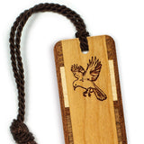 Bird & Feather Engraved Wooden Bookmark with Tassel