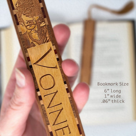 Author - Kurt Vonnegut Engraved Wooden Bookmark with Tassel