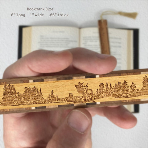 Elk Scene Engraved Wooden Bookmark with Tassel