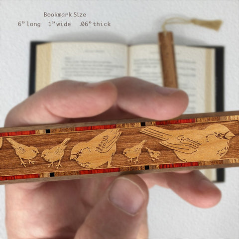 Birds - Feeding- Chickadees Engraved Wooden Bookmark on Cherry with Copper Tassel