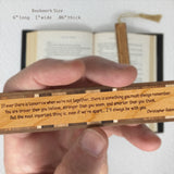 Christopher Robin Quote Engraved Wooden Bookmark on Cherry with Brown Suede Tassel