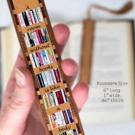 A Room Without Books Quote Wooden Bookmark with Tassel