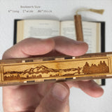 Mountain Hiker Engraved Wooden Bookmark on Cherry with Tassel