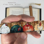 Chickens - Art by Christi Sobel on Solid Wooden Bookmark with Tassel