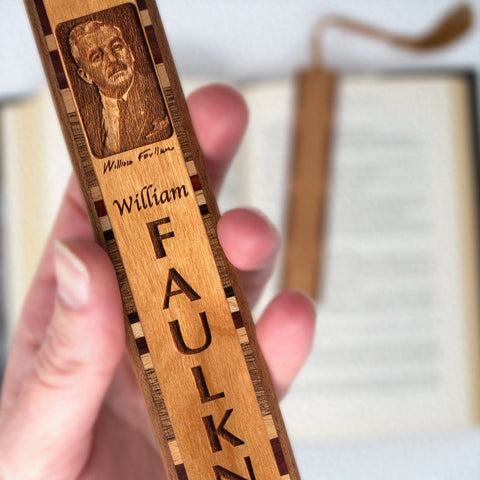William Faulkner Engraved Wooden Bookmark with Brown Rope Tassel