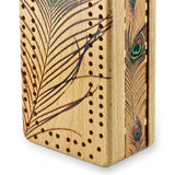 Peacock Feather Wooden Cribbage Board with quality metal pegs and deck of cards