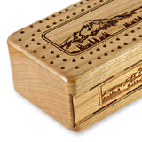 Mountain Hiker Engraved Wooden Cribbage Board with quality metal pegs and deck of cards