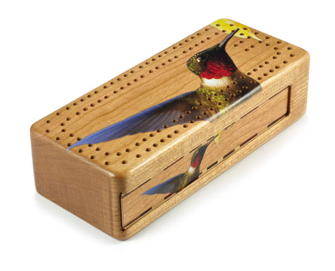 Ruby-throated Hummingbird Wooden Cribbage Board with quality metal pegs and deck of cards