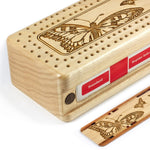 Butterflies Engraved Wooden Cribbage Board with quality metal pegs and deck of cards