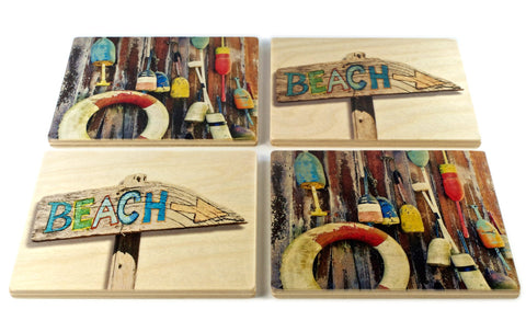 Beach and Buoys Coasters - From Original Painted Photography By Martha Everson - Set of 4 or 6 Wooden Coasters With Optional Holder