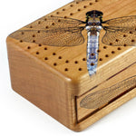 Dragonflies Wooden Cribbage Board with quality metal pegs and deck of cards