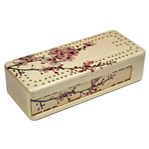 Cherry Blossom Wooden Cribbage Board with quality metal pegs and deck of cards